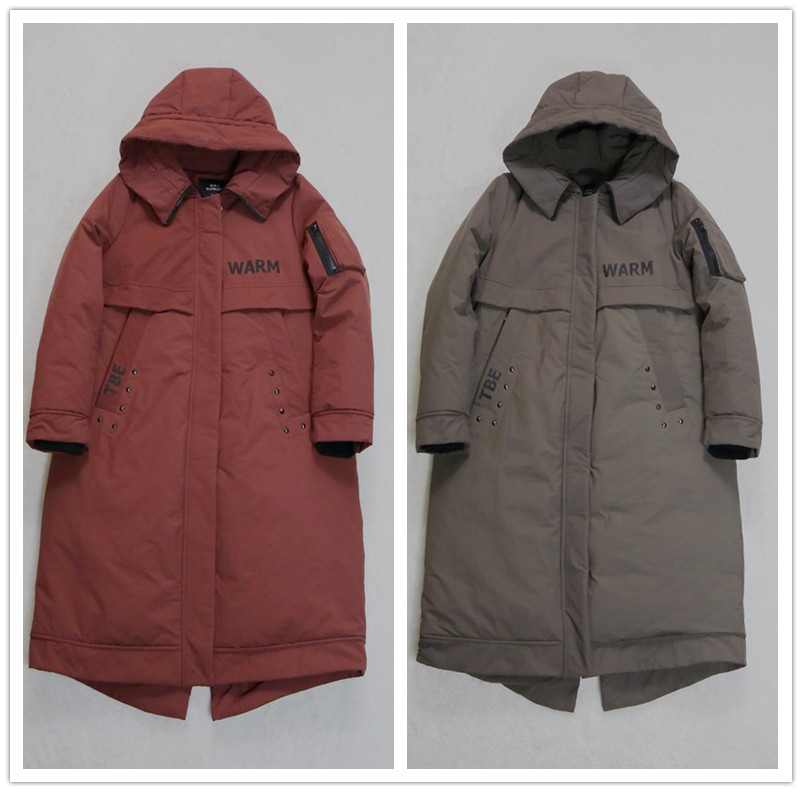 Special counter brand new winter womens clothing Khaki wine red loose hooded and thickened medium and long down jacket