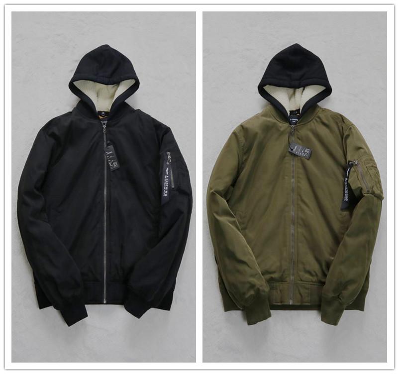 外贸日本品牌冬新款男女装黑军绿夹棉可拆帽飘带拉链加厚棉衣棉服