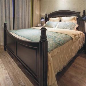 美式乡村橡木全实木柱子床双人床简约公主床1.8米气压高箱储物床