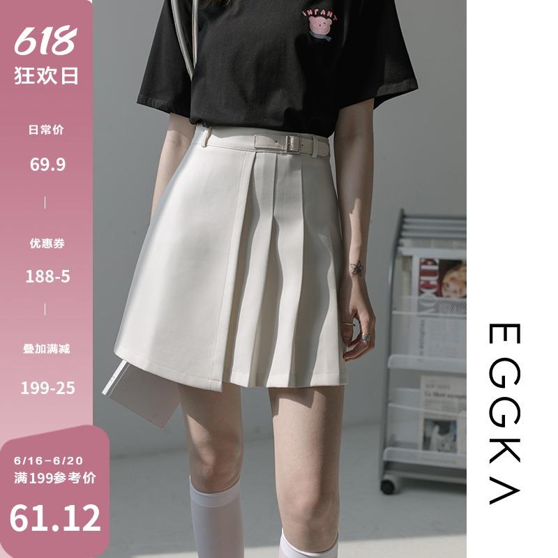 EGGKA高腰百褶裙半身裙女不规则显瘦a字短裙包臀裙2021年夏季新款