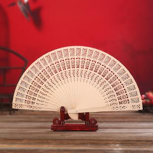 6寸7寸木质扇子中国风礼品檀香扇镂空摆件工艺全木扇舞蹈折扇定制