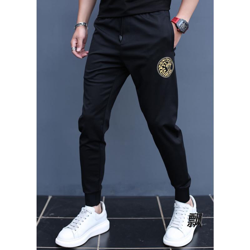 帝哲尼男士2020夏季新款时尚潮流印花束脚运动裤男修身帅气休闲裤