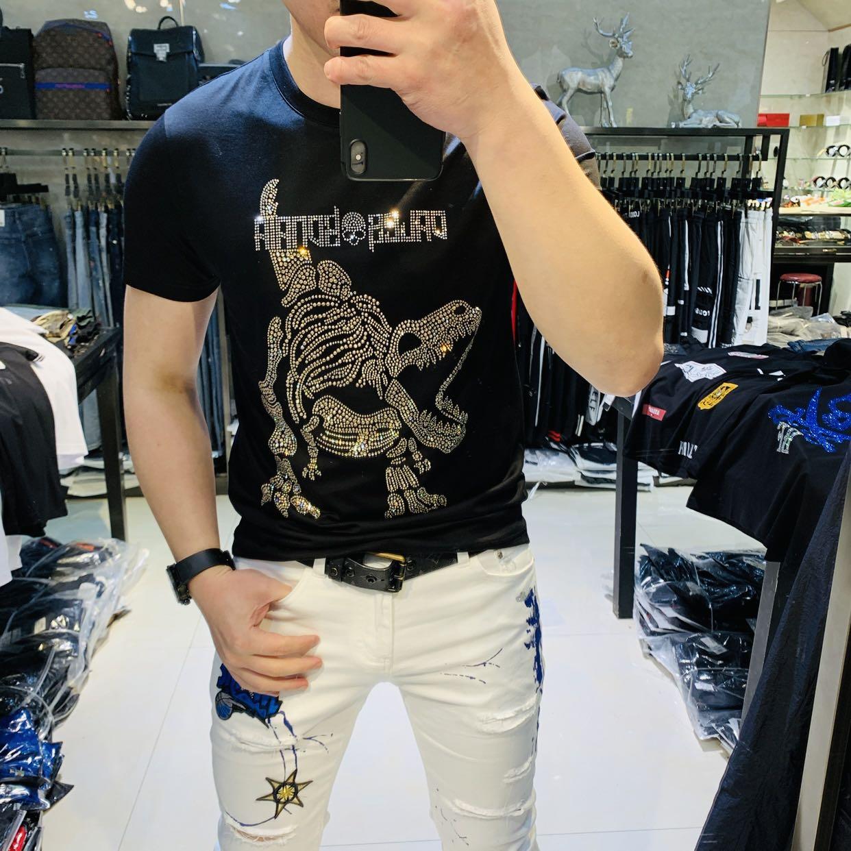 帝哲尼2019夏季新款欧洲站烫钻流行丝光棉T恤男抖音红人同款短袖