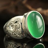 巴厘岛手工复古925纯银天然玉髓戒指冰种玛瑙绿指环戒子女士宫廷
