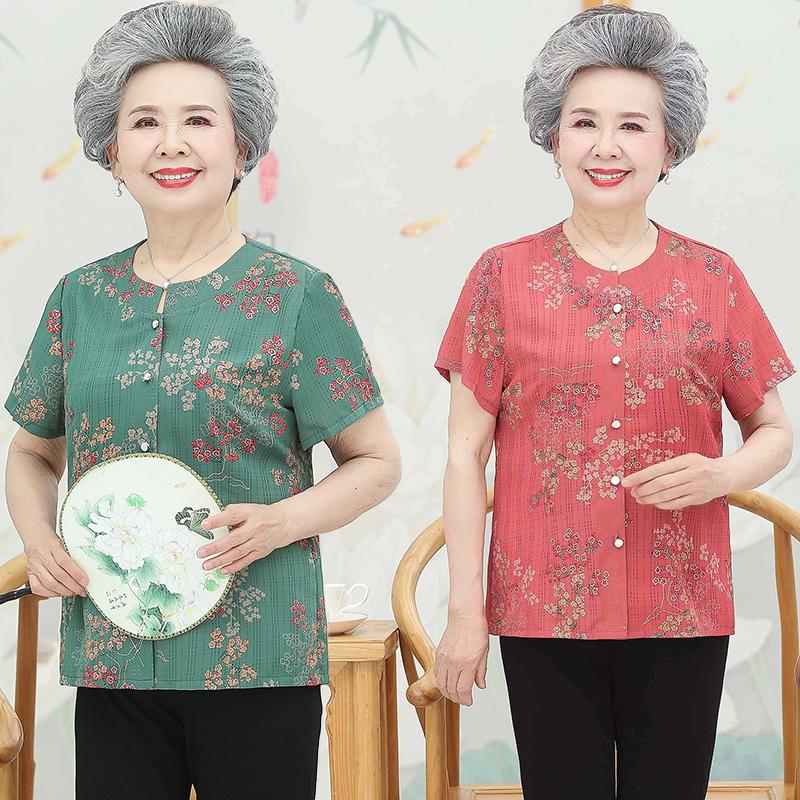 Old ladys summer round neck shirt, grandmas short sleeve casual large T-shirt, mothers loose inch fir dress