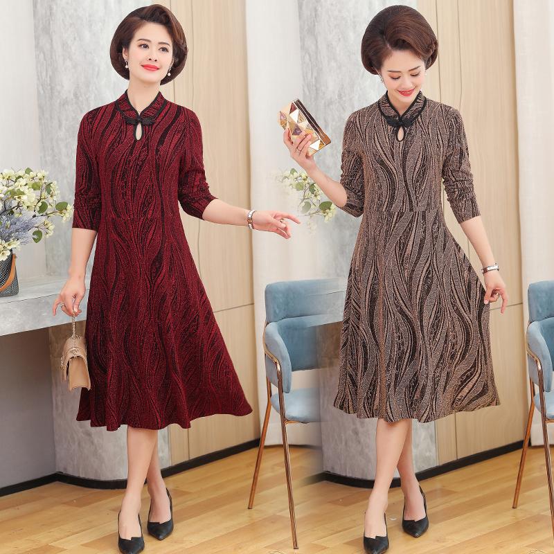 夏季中老年妇女装40妈妈群子35阿姨55到45多50岁旗袍夏天连衣裙子