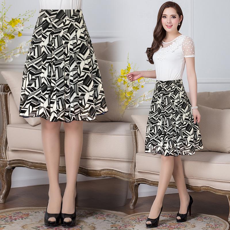 夏新款韩版中年少妇女装妈妈修身显瘦弹力半身裙松紧腰积木雪纺裙