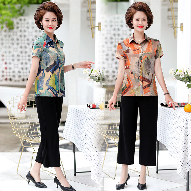 Womens short sleeve Lapel shirt suit middle aged and old mother-in-law Flower Top 7-point wide leg pants 2-piece wide fat enlarged
