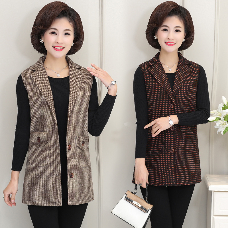 Spring and autumn womens suit Lapel cardigan vest for middle-aged and elderly mothers lattice point buckle vest thin ridge shoulder width fattening