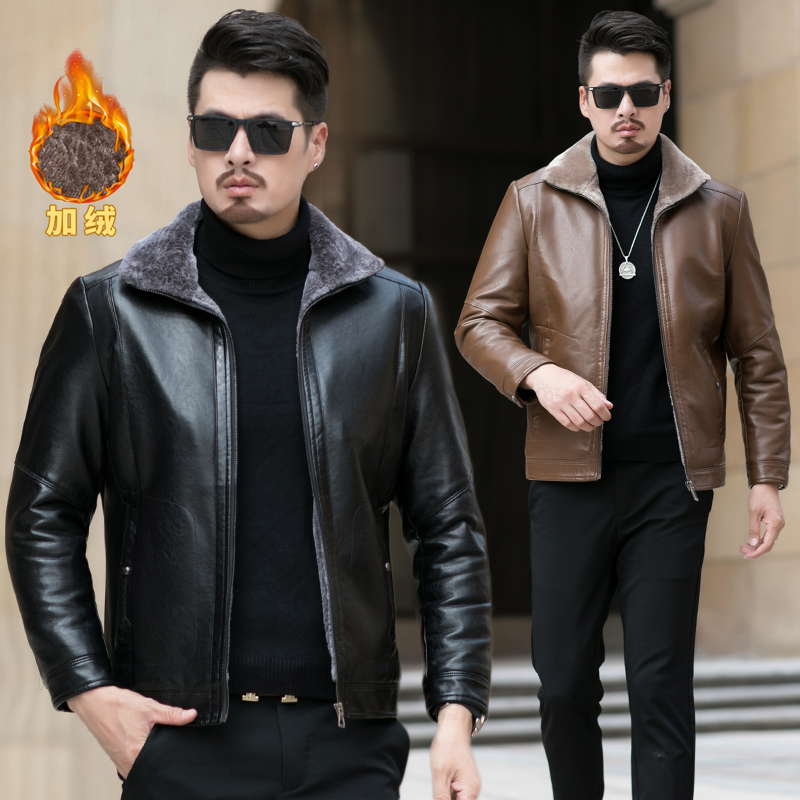 Dad winter coat Plush thickened middle-aged and elderly winter leather coat 40 middle-aged mens coat 50 year old leather jacket