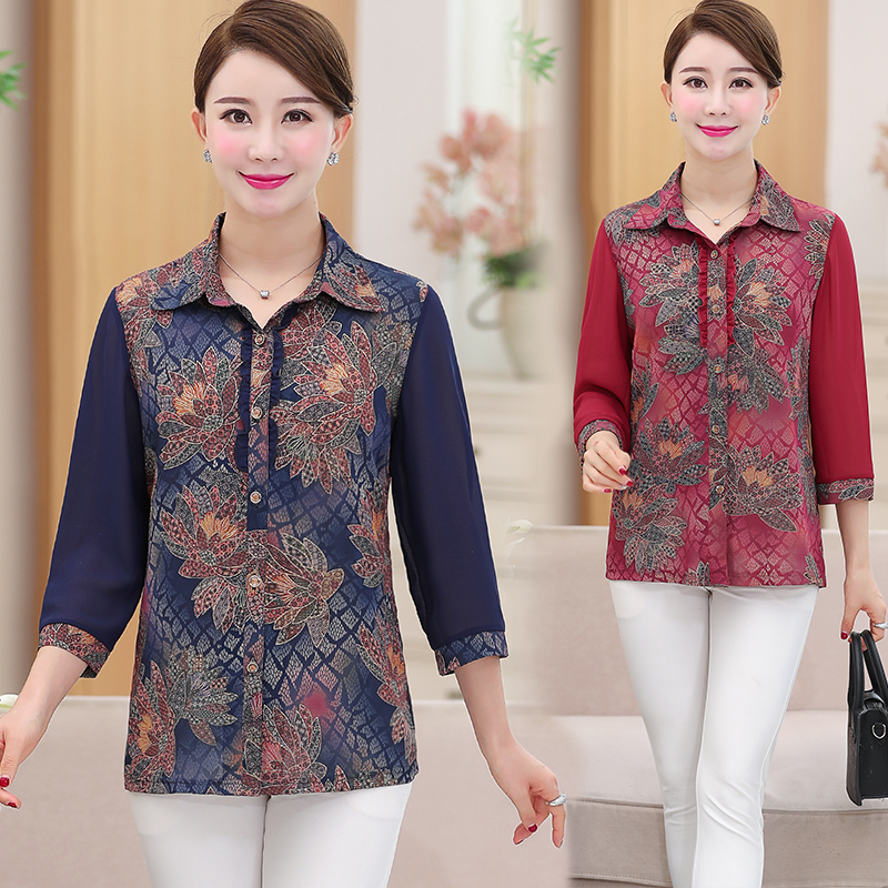 New mid-aged and old womens shirts in autumn square collar top for mothers aged 40-50 60 mothers loose inch clothes