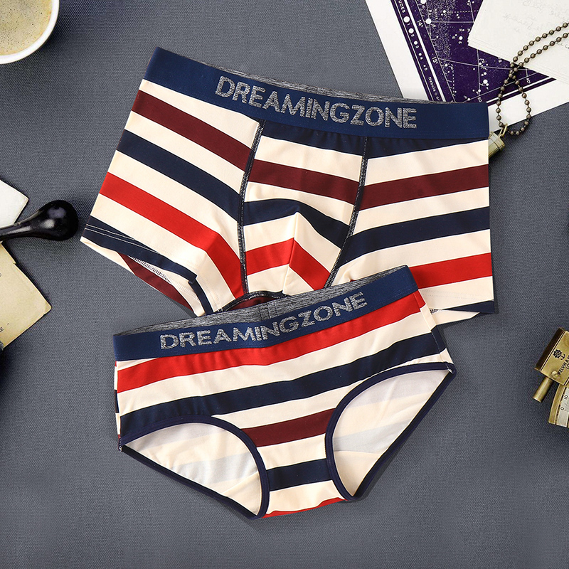 Tongxin grass couple underwear pure cotton creative suit sports style flat angle mens triangle middle waist womens students