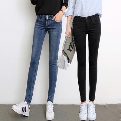 k835实拍 秋冬新款chic紧身牛仔裤女小脚裤显瘦黑色牛仔长裤p50