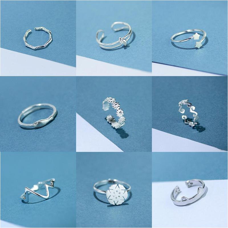 韓國開口純銀戒指女簡約學生清新日韓潮人送閨蜜指環個性關節尾戒