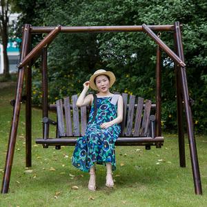 家用室外实木秋千户外摇摇椅吊椅防腐木荡秋千公园椅吊篮阳台庭院