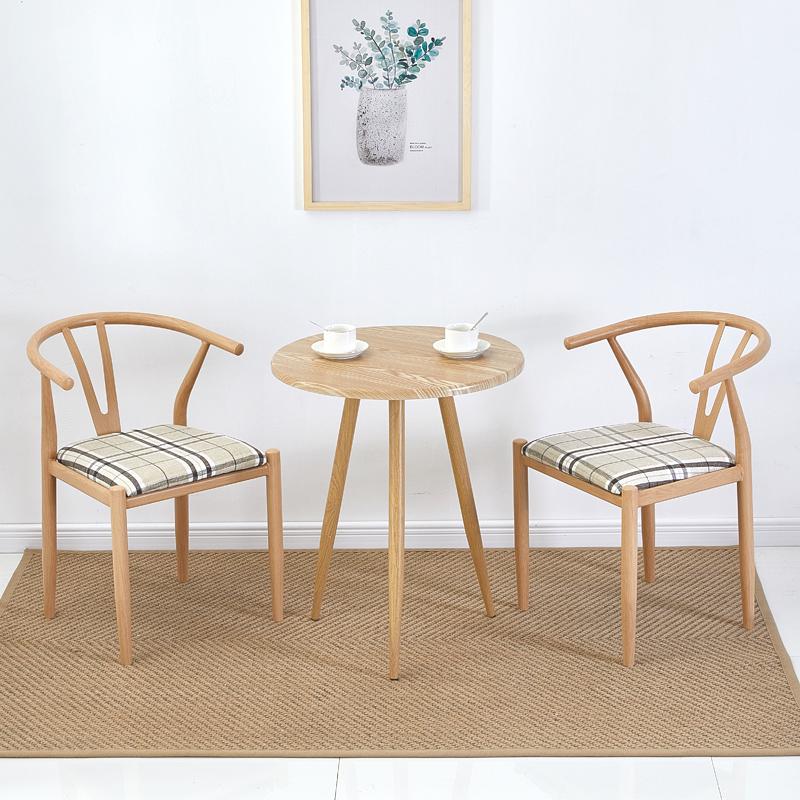 北欧餐桌椅组合铁艺 仿实木Y字椅子肯尼迪太师椅简约家用新中式