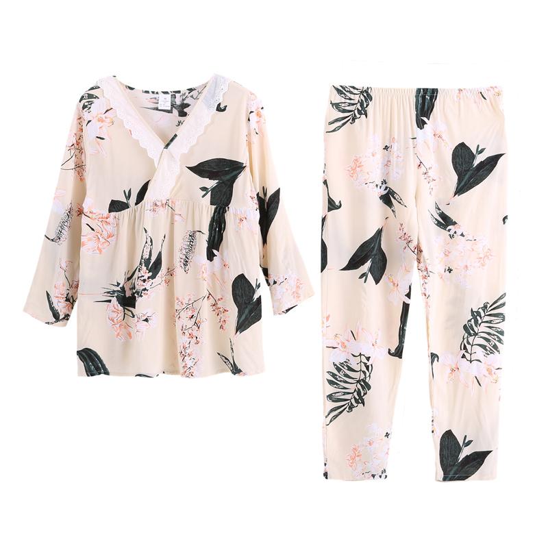 春秋天绵绸睡衣女士长袖薄款纯棉绸套装韩版人造棉宽松家居服大码