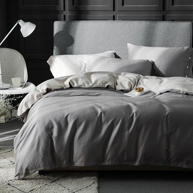 欧美简约80支纯色四件套埃及长绒棉贡缎纯棉全棉被套床单床笠床品