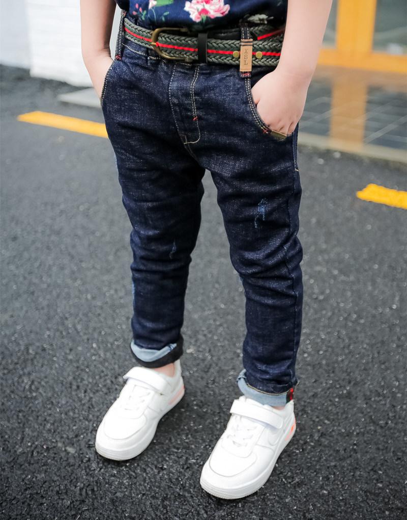 米克狸男童加絨兒童牛仔褲