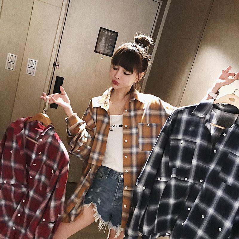 蛇蛇 学院风撞色格子衬衫不规则设计衬衣宽松薄款外套韩版长袖