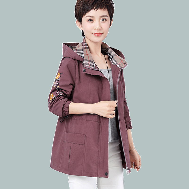 Middle aged and old womens coat, womens mothers wear, spring and autumn short style, big size, middle-aged womens coat, thin spring coat, embroidery