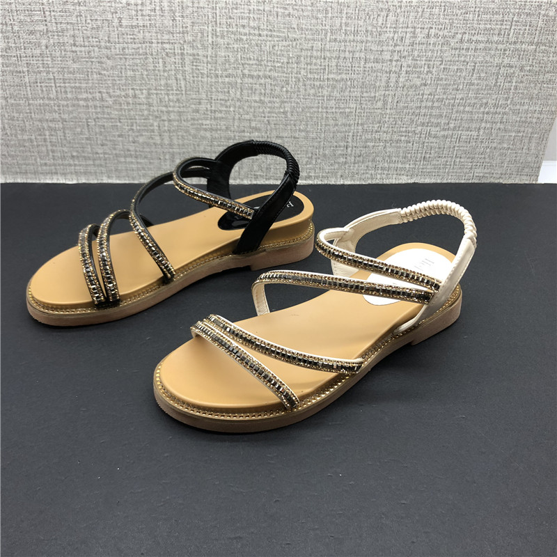 2021 summer foreign trade factory processing womens shoes buckle bright diamond flat bottom slope heel open toe thin belt womens sandals Roman shoes