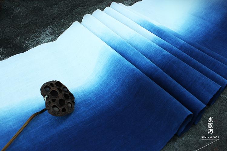 Вода окрашивали растительность Площадь дома синий Аквариум ручной ткани Tubu чайный коврик Gradient цвет вышитые DIY широкий 42 см