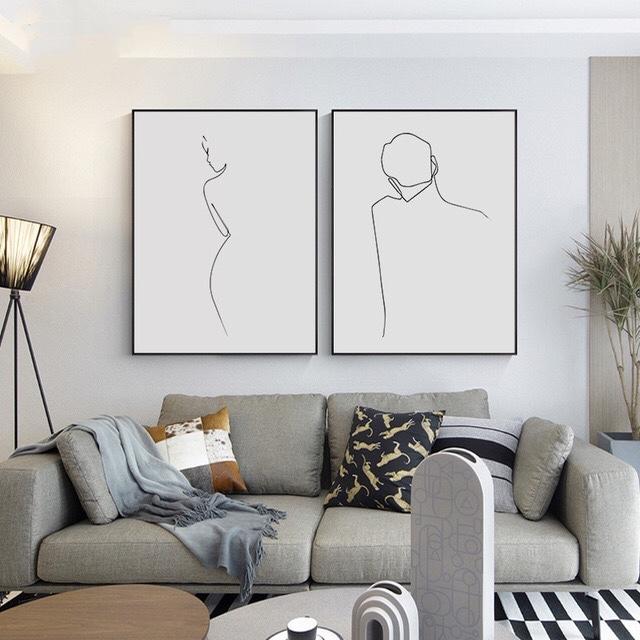 极简现代简约黑白个性客卧室线条