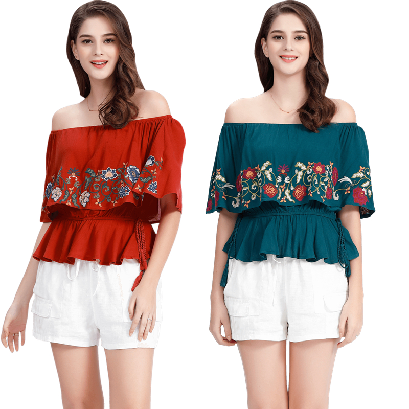 Warehouse clearing, seckill, no return, no exchange for American single holiday Hippie embroidery, Bohemia one shoulder thin cotton shirt top