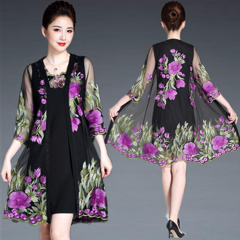 妈妈夏装中袖两件套连衣裙2020新款中年女阔太太套装高贵洋气裙子