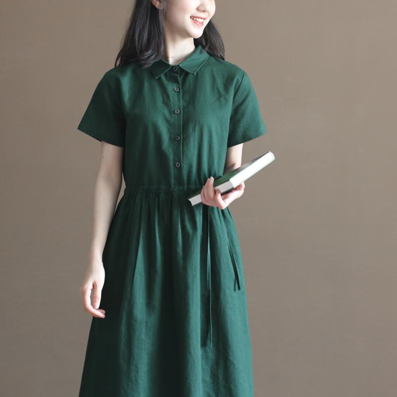 三五年Q597夏装新款文艺麻棉衬衫裙森系复古日系短袖中长连衣裙女