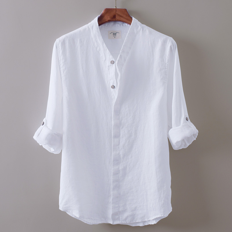 Summer new white solid thin Linen Shirt Mens long sleeve stand collar breathable casual linen soft cotton linen shirt