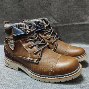 外贸欧洲原单时尚 英伦马丁靴机车靴 户外休闲工装 鞋 潮流高帮男鞋