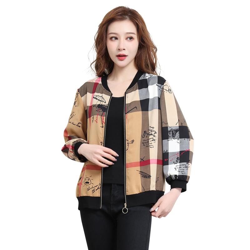 欧诗曼锦时尚V领短外套女休闲2021新款减龄气质小个子棒球服夹克