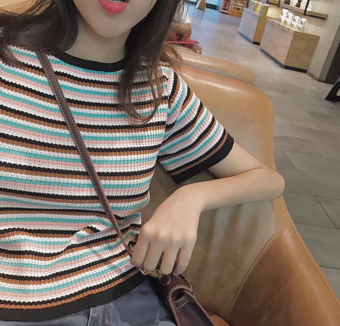 forever23 韩国夏季新品撞色条纹短款针织上衣百搭显瘦高腰女学生