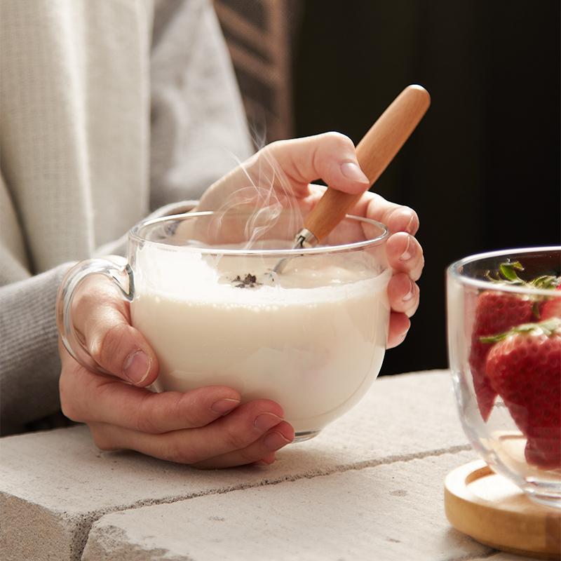 大容量大肚奶茶杯子带把情侣钢化玻璃咖啡杯子带盖家用牛奶早餐杯