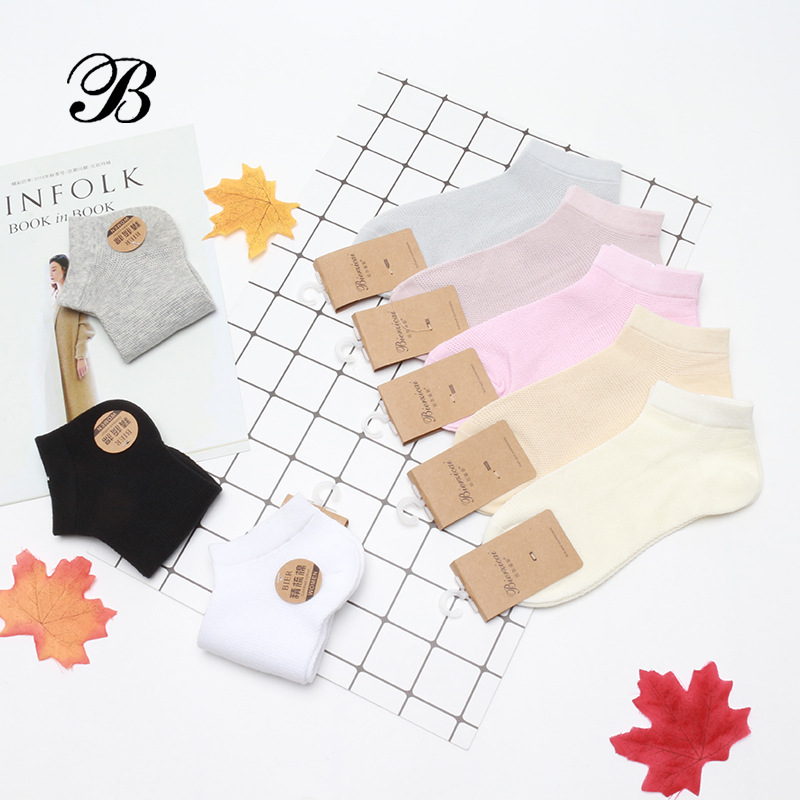 Stockings childrens summer thin mesh short tube solid color Japanese low top shallow mouth pure cotton ship stockings are popular in South Korea