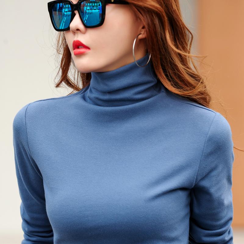 冬季简约女士全棉加厚磨毛打底衫 堆堆领长袖t恤高领弹力修身上衣
