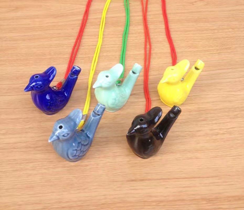 陶瓷音乐带绳子水鸟口哨十二生肖口哨小鸟水哨子创意地摊玩具批