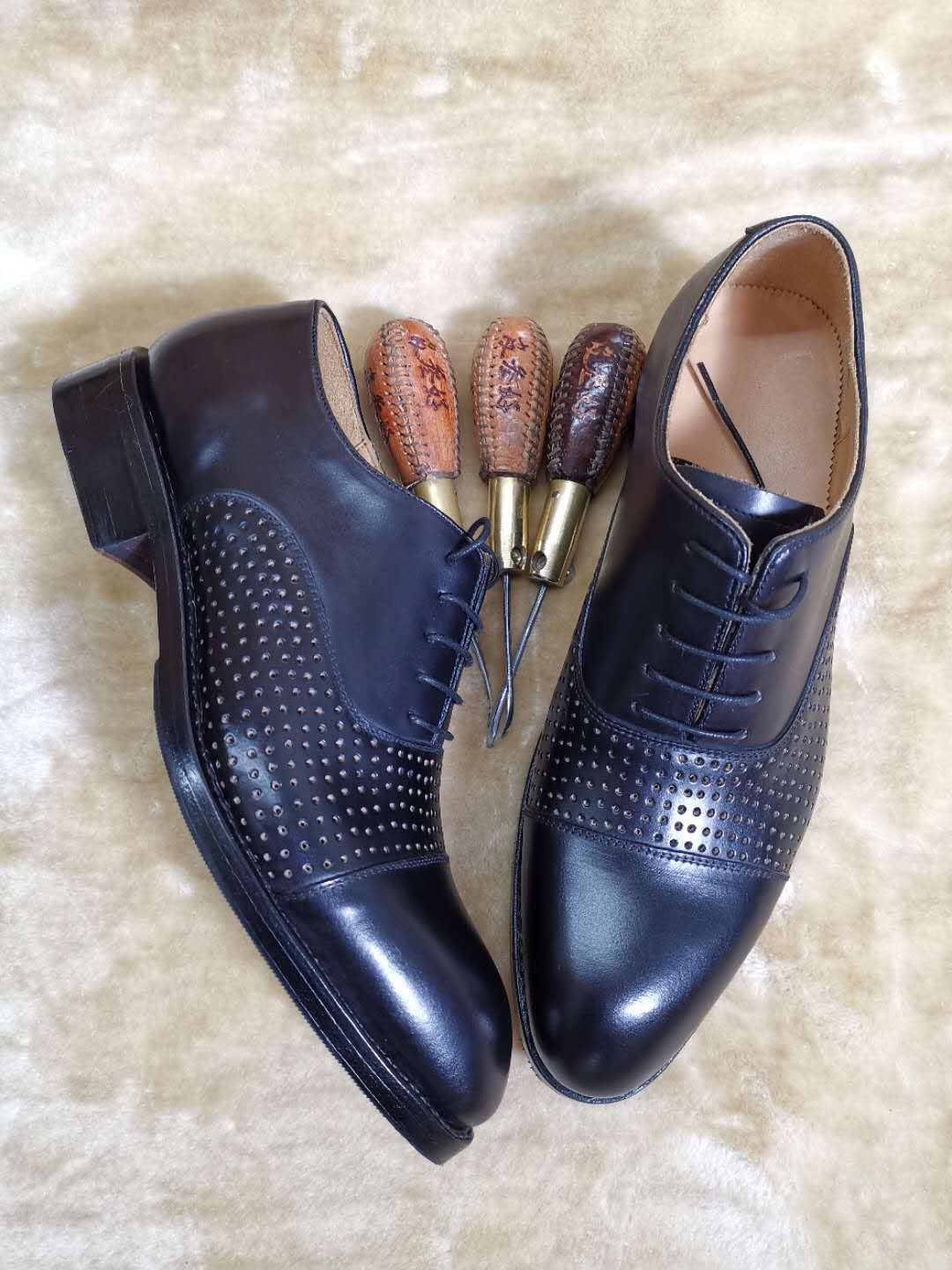 Summer punching leather shoes, Oxford Shoes, formal shoes, Goodyear craft leather soles, leather shoes, handmade shoes