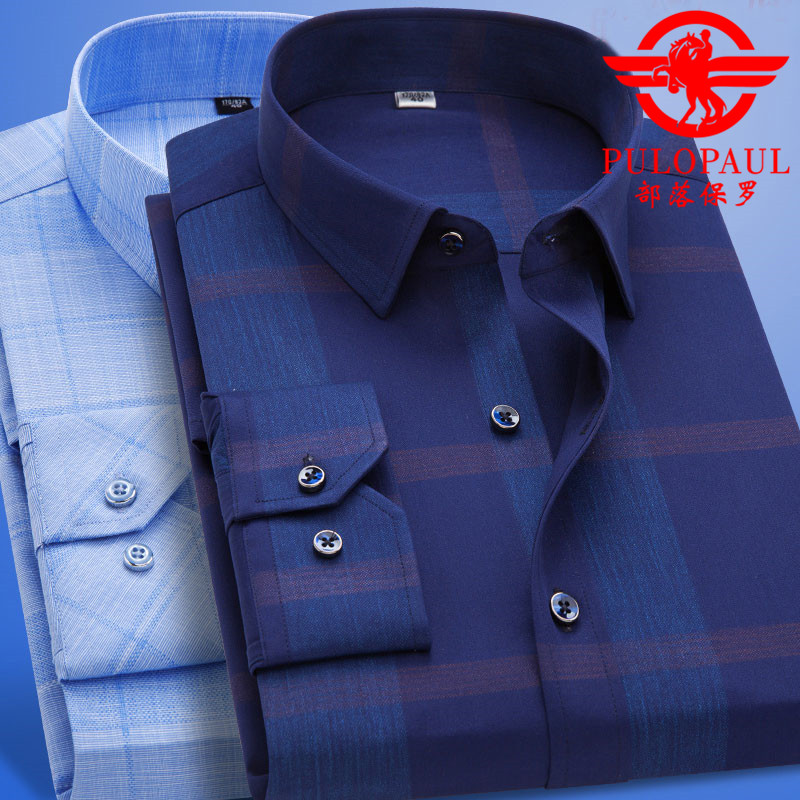 Pauls spring and summer fathers full cotton long sleeve shirt