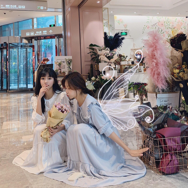 超仙连衣裙女2020夏新款韩版显瘦法国小众学院风过膝及裸长款裙子