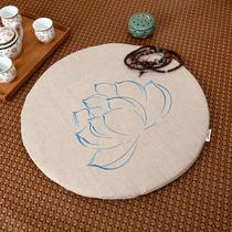 亚麻莲花蒲团刺绣蒲垫菩莲方形禅修垫大拜垫瑜伽圆形榻榻米打坐垫
