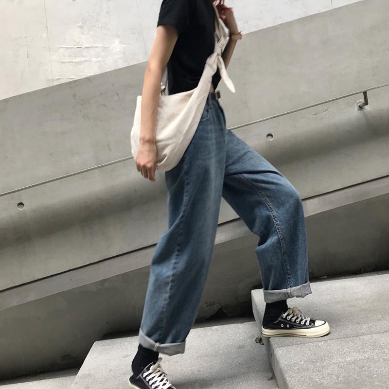 夏季韩版ulzzang复古水洗牛仔裤女街头宽松高腰直筒阔腿裤长裤潮