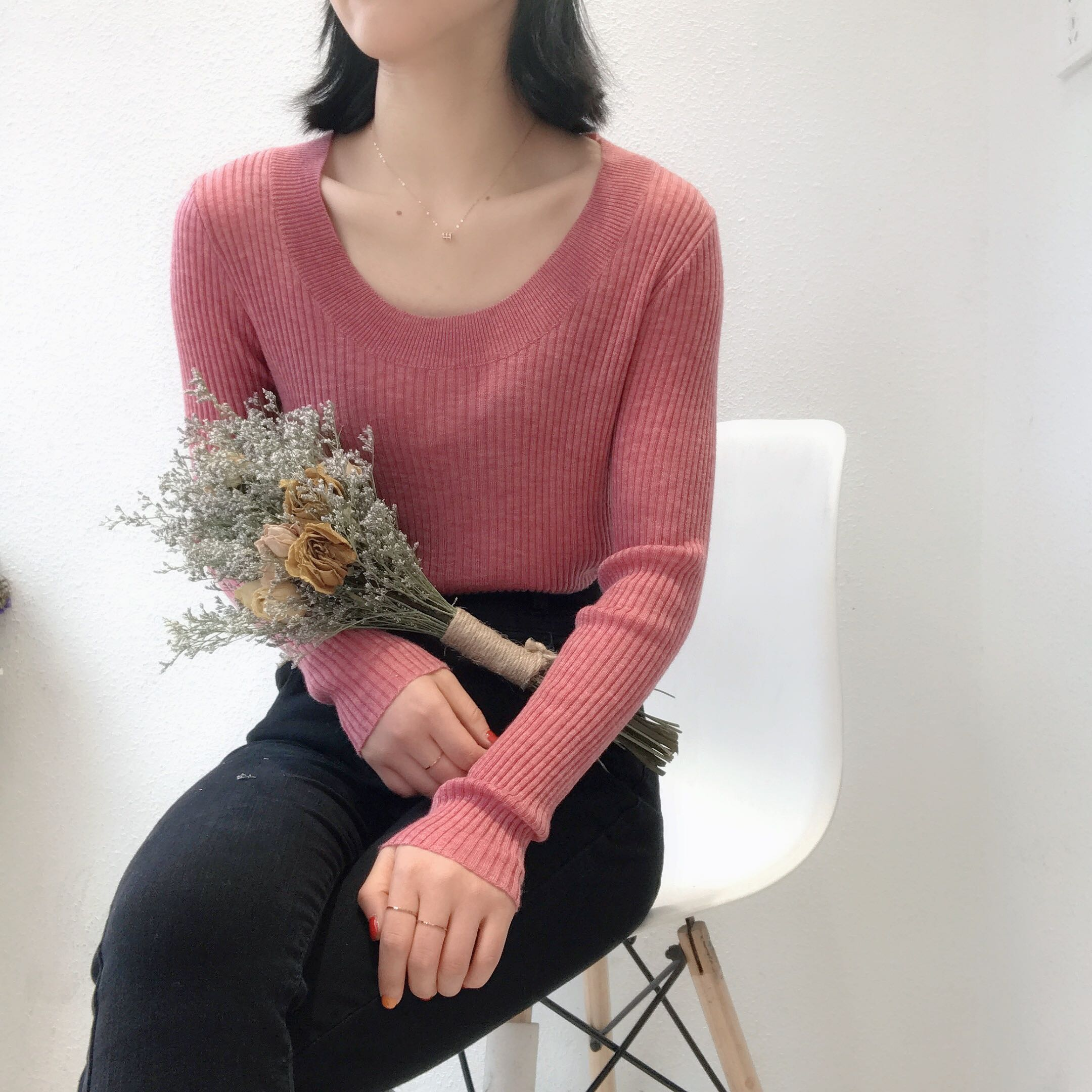 2020 new autumn womens basic style slim fitting round neck long sleeve Pullover Sweater sweater 7001