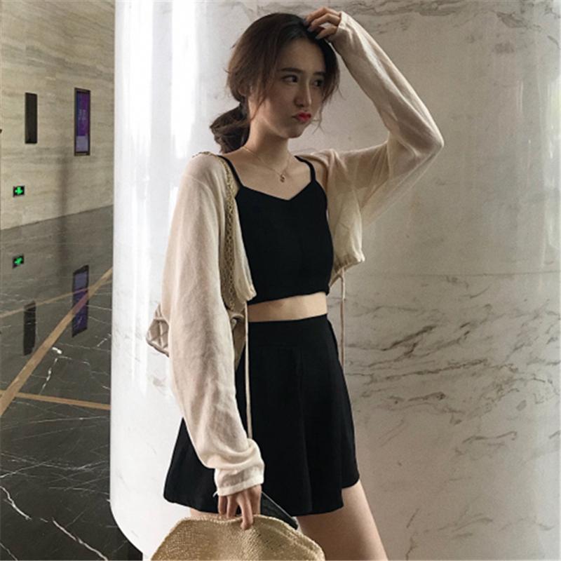 夏装韩版港味精神女装社会套装气质吊带+阔腿短裤子+防晒衫三件套