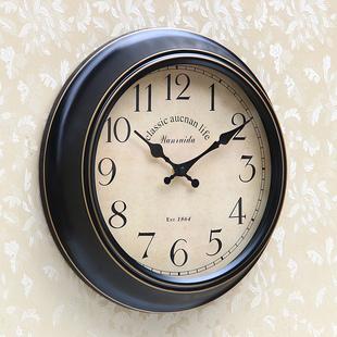 个性 美式 现代创意石英钟复古超静音铁艺钟表欧式 简约客厅家用挂钟