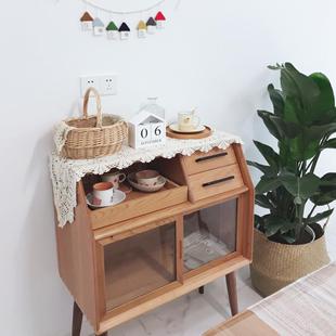 北欧日式 简约实木餐边柜阿尔托小边柜茶水吧台收纳柜玄关柜备餐柜
