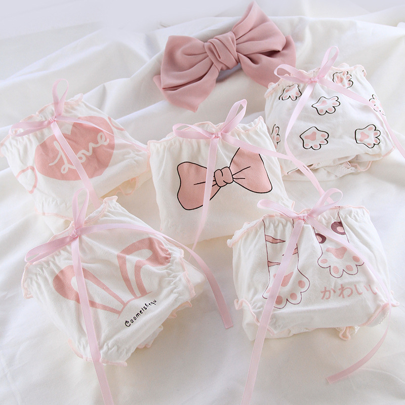4 pieces of flounce bow womens underwear cotton bread pants girl students large underwear