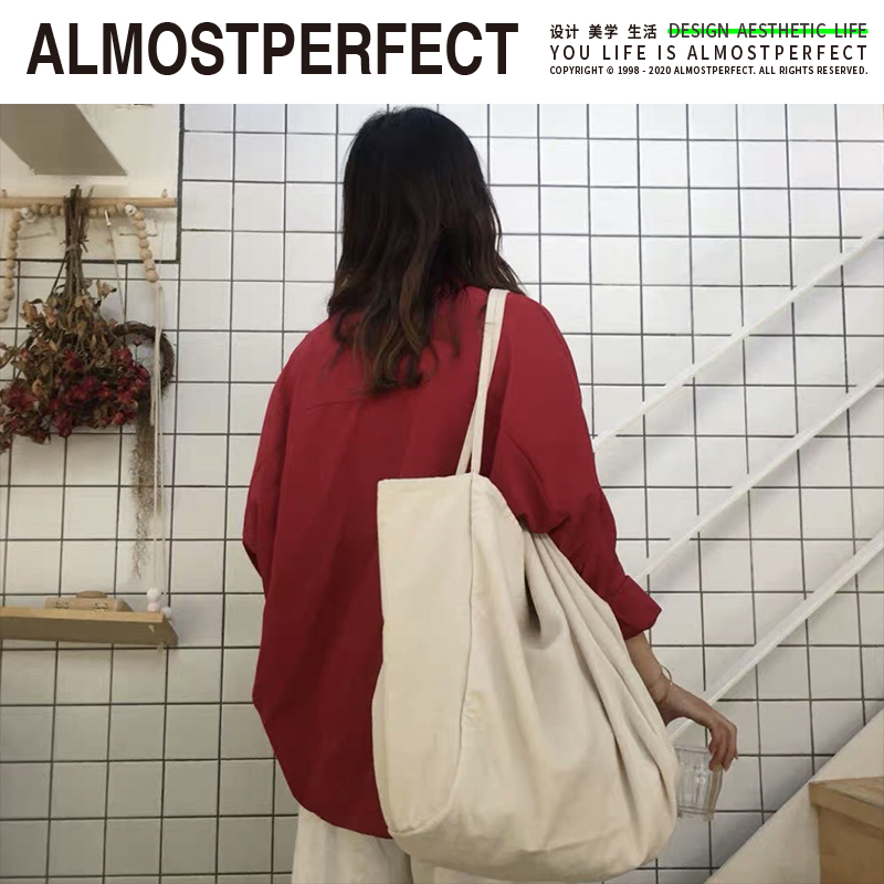 Almostperfect canvas bag womens one shoulder shopping bag